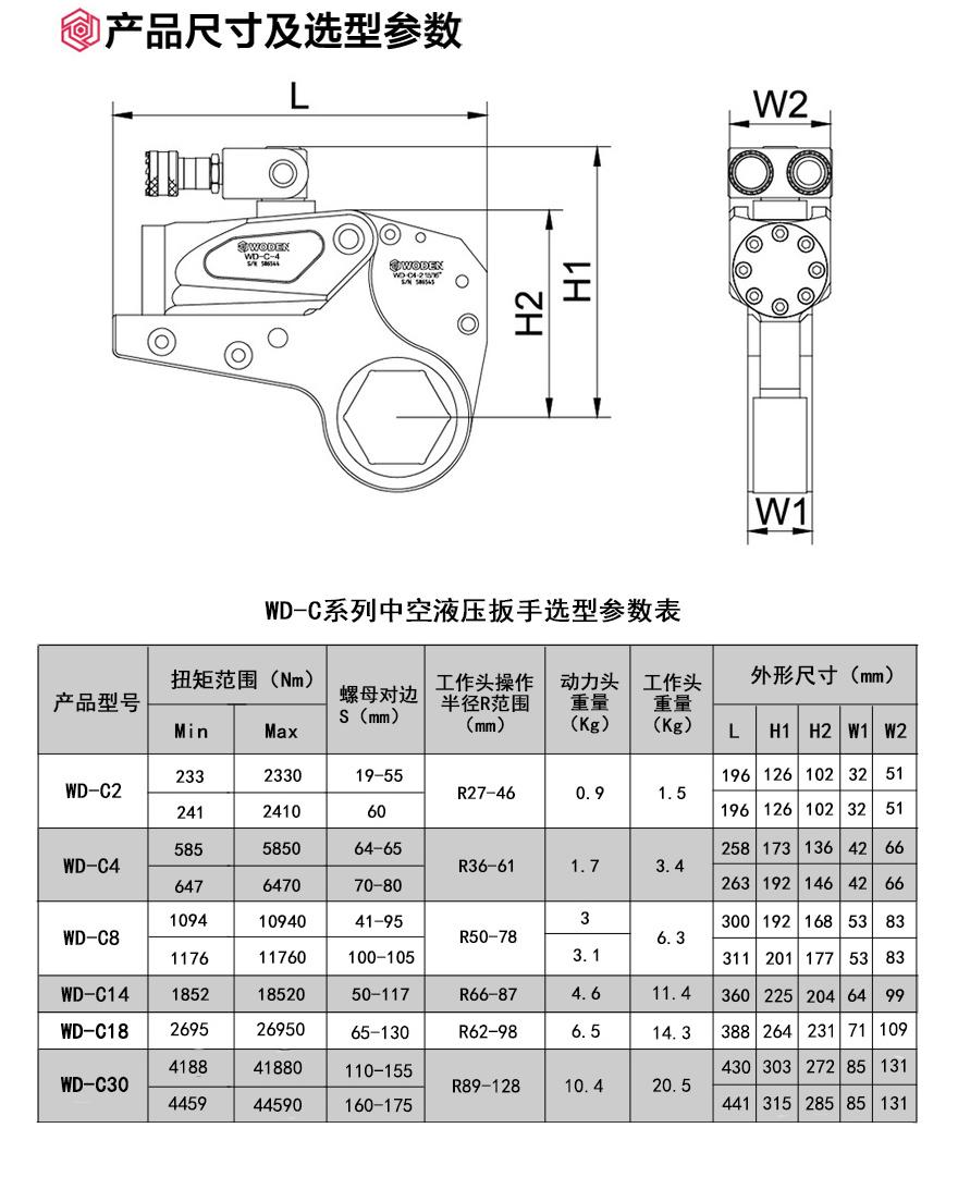 WD-C中空式LOL雷电竞雷电竞备用网站参数及示意图
