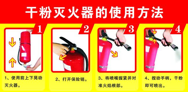干粉灭火器的具体使用方法。